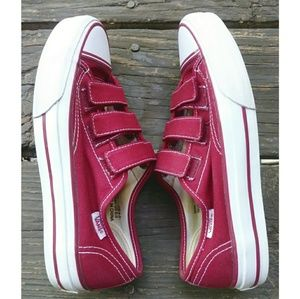 Vans Red Velcro Canvas Sneaker Size 6